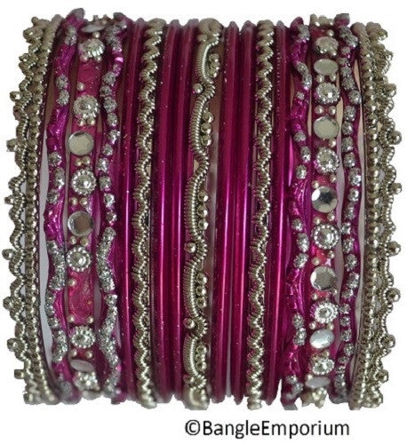 Chandni: Dark Pink and Silver Bangle set for Girls size (2.0 )