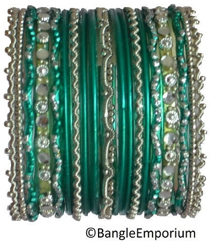 Chandni: Teal and Silver Bangle set for Girls size (2.0 )