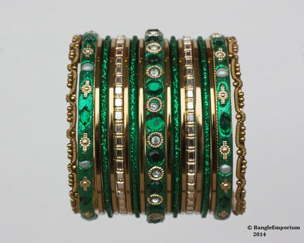 Chicklet: Green and Gold Bangle set for Girls size (2.0 / 2.2 )