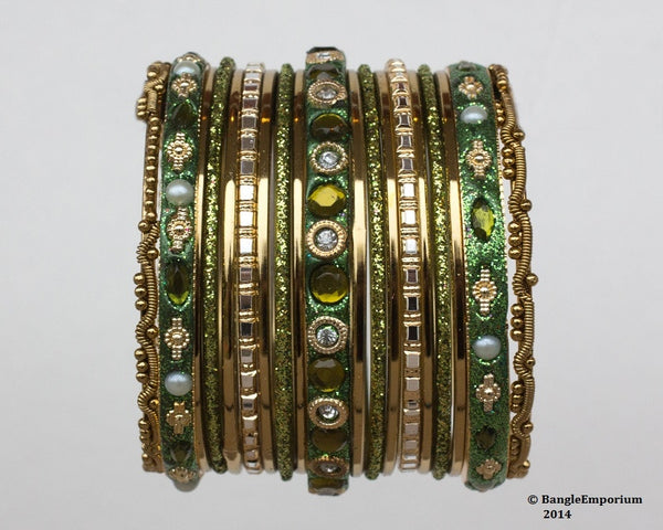 Chicklet: Henna Green and Gold Bangle set for Girls size (2.0 / 2.2 )