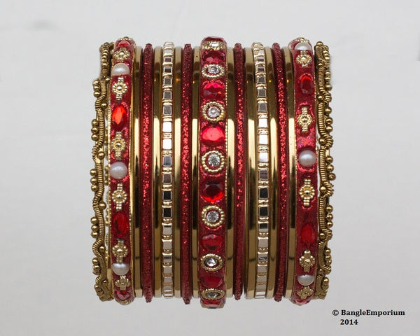 Chicklet: Red and Gold Bangle set for Girls size (2.0 / 2.2 )