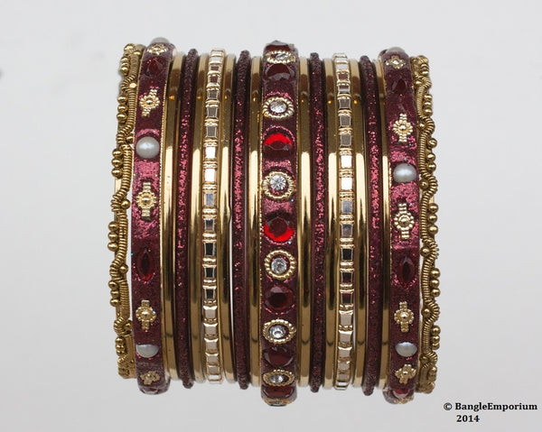 Chicklet: Maroon and Gold Bangle set for Girls size (2.0 / 2.2 )