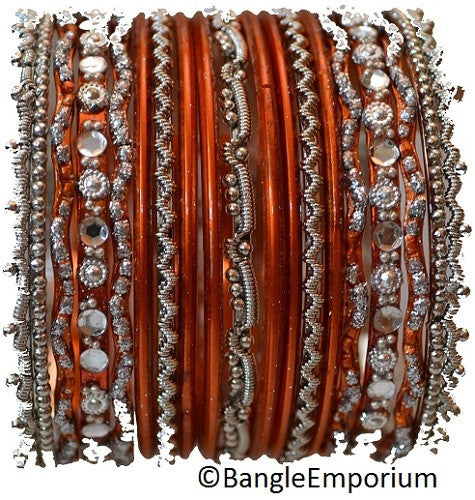 Chandni: Orange and Silver Bangle set for Girls size (2.0 / 2.2 )
