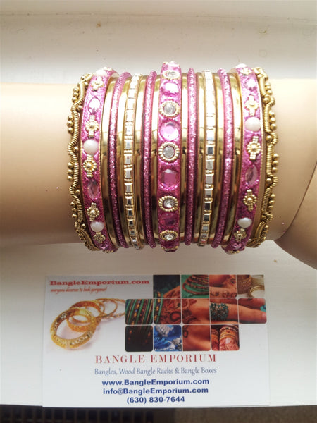 Chicklet: Pink and Gold Bangle set for Girls size (2.0 / 2.2 )