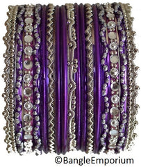 Chandni: Purple and Silver Bangle set for Girls size (2.0 / 2.2 )