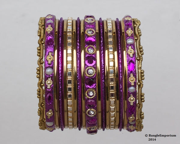 Chicklet: Purple and Gold Bangle set for Girls size (2.0 / 2.2 )