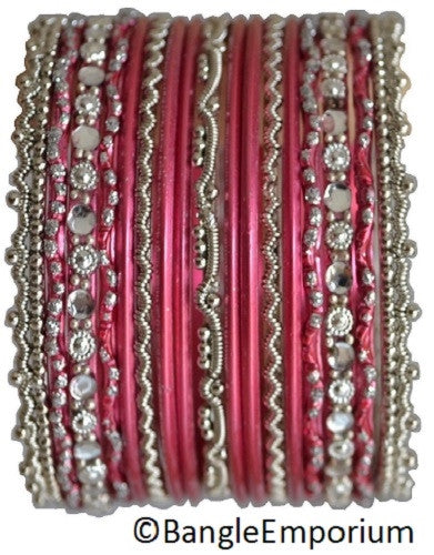 Chandni: Pink and Silver Bangle set for Girls size (2.0 / 2.2 )