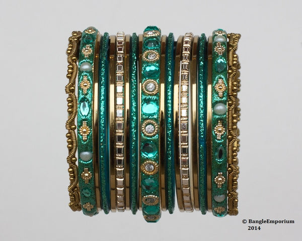 Chicklet: Teal and Gold Bangle set for Girls size (2.0 / 2.2 )