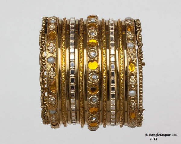 Chicklet: Yellow and Gold Bangle set for Girls size (2.0)