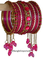 Cascade: Dark Pink Bangle set for Girls size (2.0 )