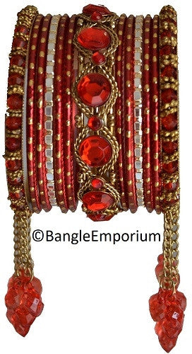 Cascade: Red Bangle set for Girls size (2.0 / 2.2 )