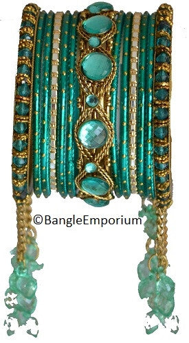 Cascade: Teal Bangle set for Girls size (2.0 / 2.2 )