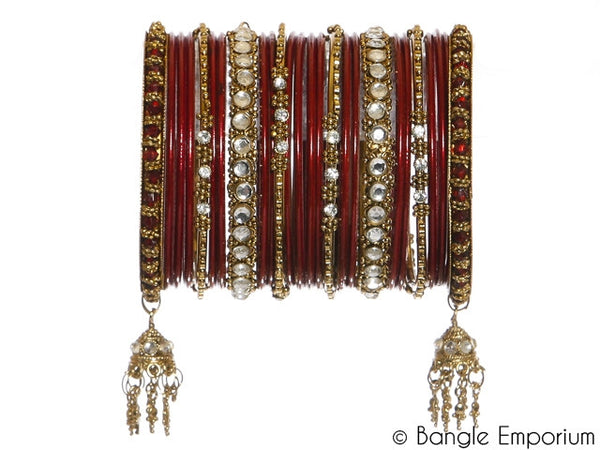 Kundan: Maroon Bangles for Special Occassions Size ( 2.4 )