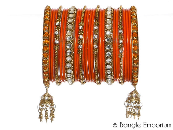 Kundan: Orange Bangles for Special Occassions Size ( 2.4 / 2.6 / 2.8 )