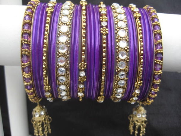 Kundan: Dark Purple Bangles for Special Occassions Size (2.4)