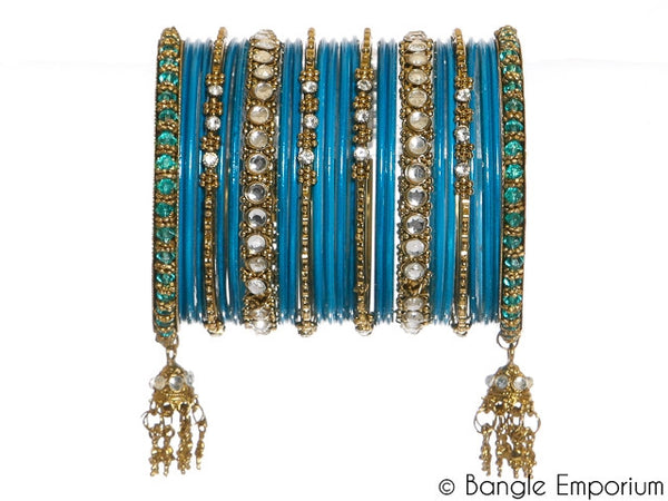 Kundan: Surf Blue Bangles for Special Occassions Size ( 2.4 / 2.6/ 2.8 )