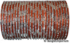 Maharani orange silver bangle bracelets indian metal alloy bangles glitter shiny sparkly 2.8 2.10 2.12