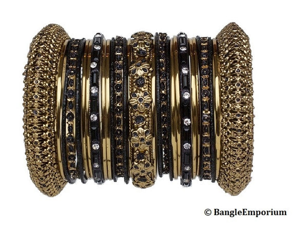 Panache' : Black Bangles in Gold Tone (2.4)