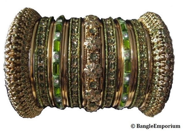Panache' : Henna Green Bangles in Gold Tone (2.4 / 2.6 / 2.8)