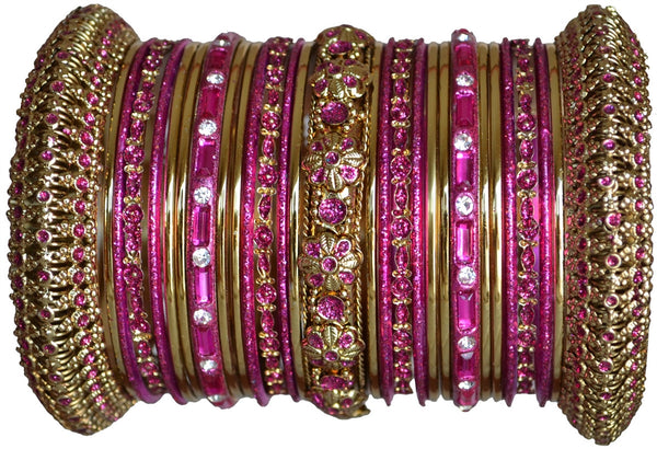 Panache' : Dark Pink Bangles in Gold Tone (2.4)