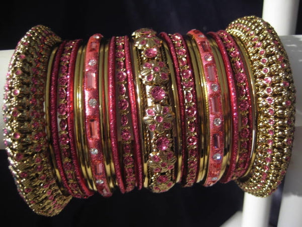 Panache' : Rose Pink Bangles in Gold Tone (2.4 / 2.6 / 2.8)