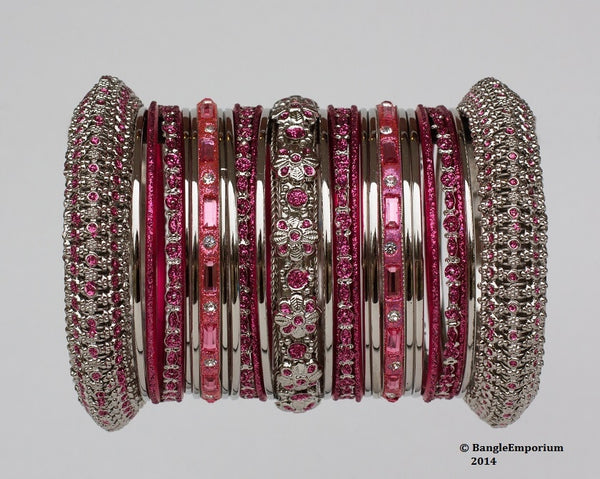 Panache' : Rose Pink Bangles in Silver Tone (2.4 / 2.6 / 2.8)