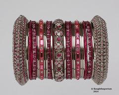Rose Pink color metal bangle bracelets made in india cz cubic zirconia crystal material metal alloy silver tone panache bangles indian 2.4 2.6 2.8