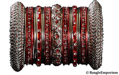 Red color metal bangle bracelets made in india cz cubic zirconia crystal material metal alloy silver tone panache bangles indian 2.4 2.6 2.8