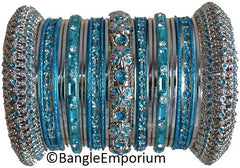 Turquoise Blue color metal bangle bracelets made in india cz cubic zirconia crystal material metal alloy silver tone panache bangles indian 2.4 2.6 2.8