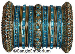 Turquoise Blue color metal bangle bracelets made in india cz cubic zirconia crystal material metal alloy gold tone panache bangles indian 2.4 2.6 2.8