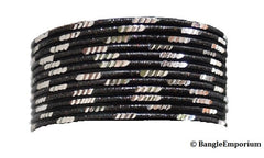 Pixie: Black Bangles with Silver cuts (2.8 / 2.10)