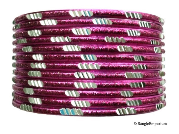 Pixie: Hot Pink Bangles with Silver cuts (2.8 / 2.10)