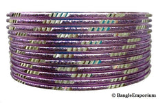 Pixie: Lilac Bangles with Silver cuts (2.8 / 2.10)