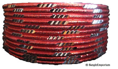 Pixie: Red Bangles with Silver cuts (2.8)