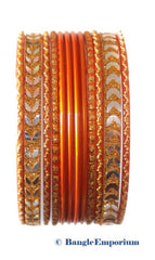 Orange bangles Cleopatra Collection Indian size 2.4 2.6 Imported Metal alloy bracelets set of 12 dozen bangles