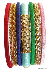 Pink gold red blue green multi color silver glitter metal bangle bracelets made in india thread 2.8 2.10 2.12