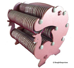 Peacock Designer Metallic Pink Bangle Rack Bracelet Organizer