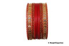 Red Bangles 2.4 2.6 Metal Indian Bracelets