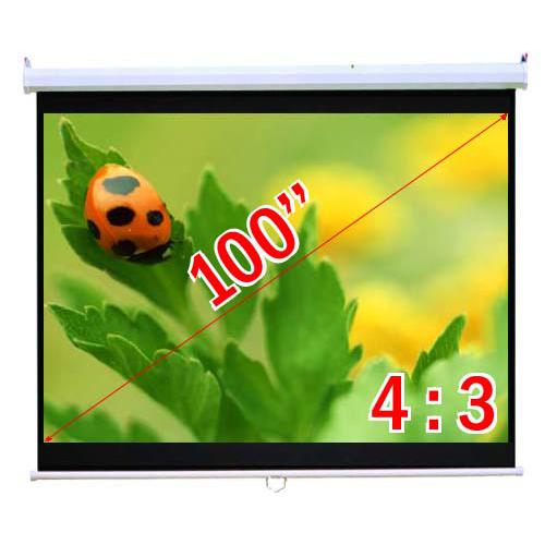 "100"" 4:3 Manual Projection Screen Soft PVC white - 13-0014 - Mounts For Less"