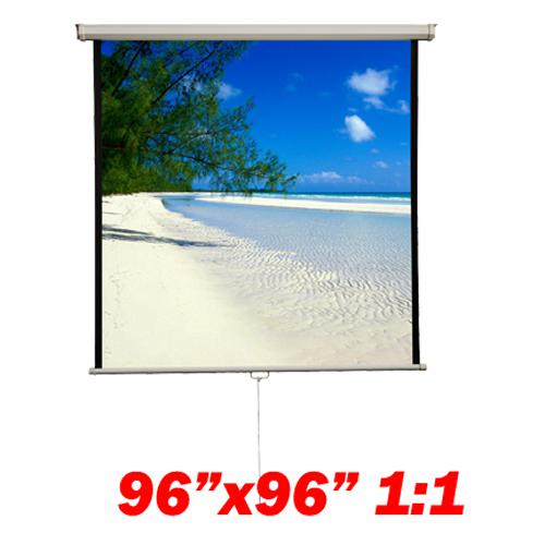 "136"" 1:1 Manual Projection Screen Soft PVC white 96""x96"" - 13-0089 - Mounts For Less"