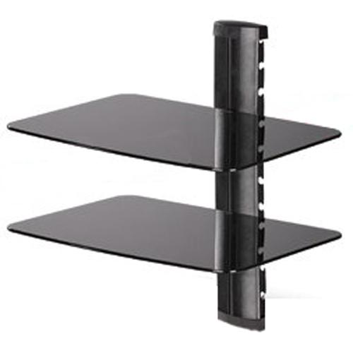 2 shelves Wall Mount for devices in black tempered glass XL DEMO - 04-0011-D - Mounts For Less