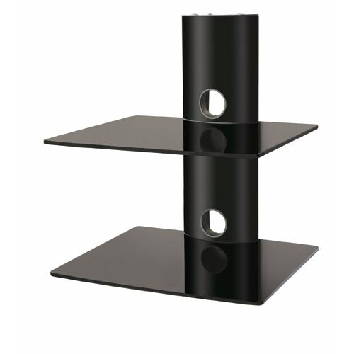2 shelves Wall Mount in black tempered glass and black mount XL - 04-0043 - Mounts For Less