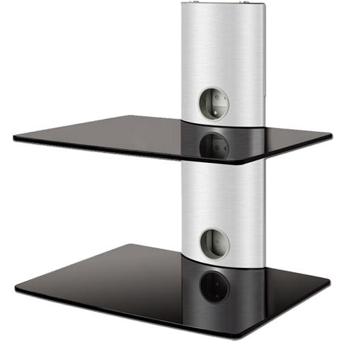 2 shelves Wall Mount in black tempered glass silver mount DEMO - 04-0043-SD - Mounts For Less