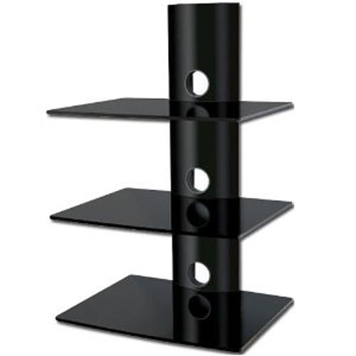 3 shelves Wall Mount in black tempered glass and black mount XL - 04-0035 - Mounts For Less