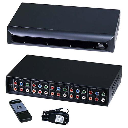 Component + Audio Switch 4 inputs / 1 output + remote - 03-0095 - Mounts For Less