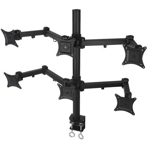 Desk mount bracket articulated for 6 monitors 13 - 24 in