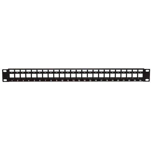 "Empty Patch Panel for Keystone jacks 24 ports black 19"" 1U - 90-0004 - Mounts For Less"