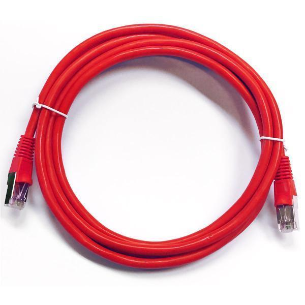 Ethernet cable network Cat6 550MHz RJ-45 shield 25 ft Red - 89-0259 - Mounts For Less