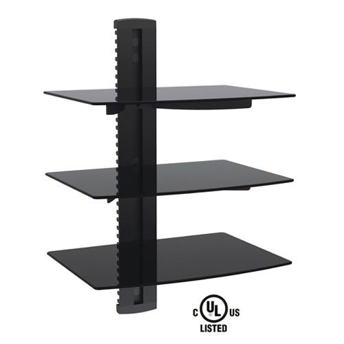 GlobalTone 3 shelves Wall Mount for devices in black tempered glass LT - 04-0220 - Mounts For Less