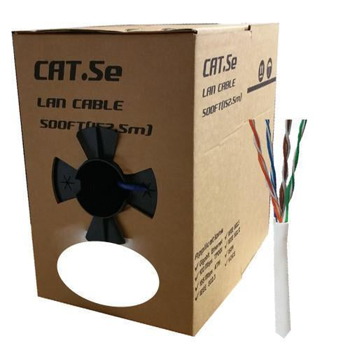 GlobalTone Ethernet cable network Cat5e RJ-45 24 AWG CCA White 500ft - 89-0127 - Mounts For Less